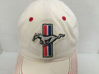 Mustang Logo Embroidered Hat/Cap White Strech Fit  OSFM