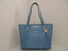 NWT AUTHENTIC BRAHMIN MEDIUM ASHER MELBOURNE EMBOSSED LEATHER TOTE-$285-CERULEAN