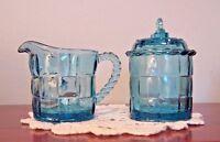 Vintage Blue-Green Glass Covered Sugar & Creamer Block Design