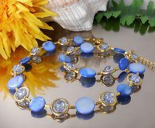 Hübsche Perlmutt Muschel Kette Blau + Crackle Glas Perlen / handgefertigt