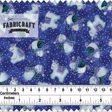 Christmas Fabric Penguins & Polar Bears on blue 100% cotton 1 metre
