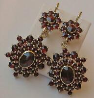 1 Paar Ohrringe Ohrhänger mit Granaten in 14 Kt. 585 Gold Tracht earrings