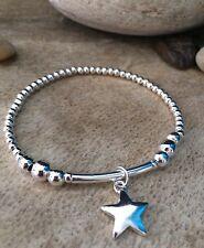Estrella de plata bola y fideos con cuentas pulsera con dijes