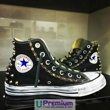 Converse New York City Black Gold Python Shoes Studded Handmade Studs Man