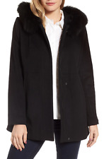 Sachi Collection wool coat black hooded with genuine fox fur M