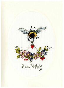 Bothy Threads Cross Stitch Greeting Card Kit - Bee Happy