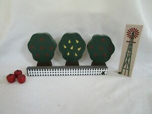 Vintage Cat's Meow Village Accessory 3 Apple/Pear Trees, Apples, Fence, Windmill