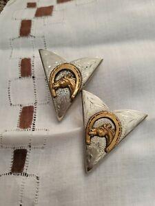 VTG 50s/60s 2 Ricardo Western Horse Nickel-Silver & Brass Screw-bck Collar Tips