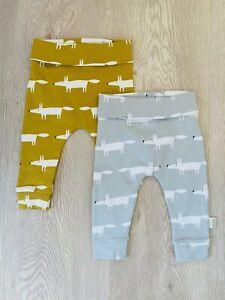 Next SCION Baby Boys Girls Fox Leggings Bottoms Yellow Mustard Grey Cotton NEW