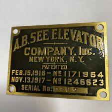 SMALL VINTAGE BRASS A.B.SEE ELEVATOR CO. NY MAKERS PLAQUE NAMEPLATE SIGN EMBLEM