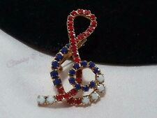 Vintage Estate Gold Musical Note Red White Blue Patriotic Milk Glass Brooch Pin