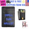 Small Slim Wallet Black Faux Leather RFID Blocking Credit Card Holder Saw Design