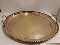 """Polished BRASS 16"""" Round Handled SERVING TRAY with Designer ROPE DESIGN"""