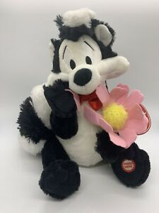 "Pepe Le Pew Plush Skunk w/ Flower I Pick You Looney Tunes Hallmark 10"""