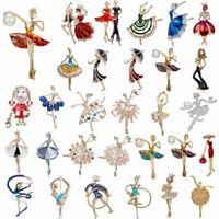 Wedding Bridal Flower Dancing Girl Crystal Pearl Brooch Pin Women Jewelry Gift