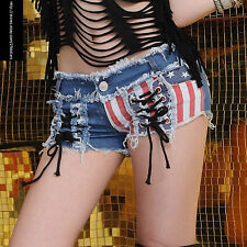 Womens Hot Pants Girls Micro Shorts Jeans American Flag Cheer Act Show Costume