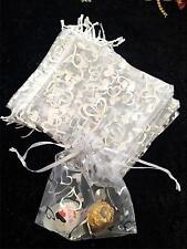 20 NEW PRETTY WHITE with SILVER HEART DESIGN ORGANZA BAGS 18cm X 13cm