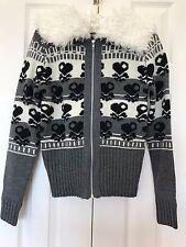 Heart Skull Wool Knit CARDIGAN Sweater Jacket Fuzzy Faux-Fur Collar FOREVER 21 S