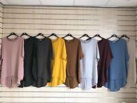 New Italian Ladies Lagenlook Stylish Asymmetric Tunic Dress Top One Size 16-28