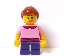 Lego Pretty Female Girl Minifigure Pink Top Short Purple Legs Reversible Head