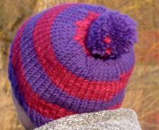 Warme Strick-Mütze mit Bommel lila pink gestreift -- gestrickt reine Handarbeit