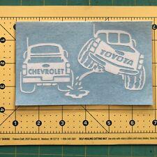 TOYOTA PISS ON CHEVY Truck Vinyl Decal DieCut Sticker Vehicle Toolbox Window 396