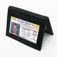 Black Men's Bifold Leather Window ID Thin Plain Credit Cards Then Wallet