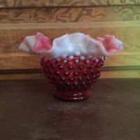 Vintage Fenton Deep Cranberry Opalescent Glass Hobnail Bowl Ruffled Edge