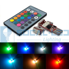 2x T10 194 LED Bulbs 5050 RGB Multi-Color Remote Control Dome/Map/License Light