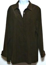 Style & Co. Ladies Chocolate Brown Snakeskin Pattern Brushed Polyester Shirt - L