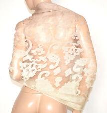 STOLA ROSA CIPRIA 50% SETA coprispalle scialle foulard ricamo velo elegante A10