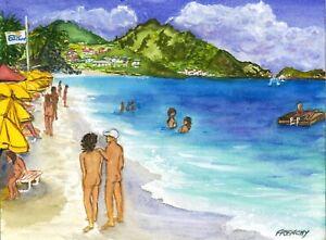 Club Orient 2015, Orient Beach St Martin watercolor print, 3 sizes, Frenchy Loeb