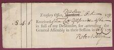 Connecticut Debenture Receipt, State Treasurer, Attending General Assembly 1789