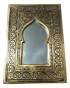Moroccan  Small Bronze Hand Mirror Decoration Door shape