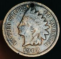 1908 S Indian Head Cent Penny 1C High Grade HOLED KEY DATE Good US Coin CC3586