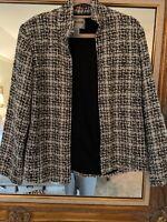 CHICO'S Women's Black White Gray Tweed Open Front Jacket Blazer Size 0~~EUC