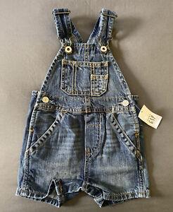 Baby Boy 3-6 Month Baby Gap Stone Wash Adjustable Strap Short Denim Overalls