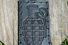 """Leather Patch - Grenade - Genuine Leather - Hand Tooled - 4"""" x 2.75"""""""
