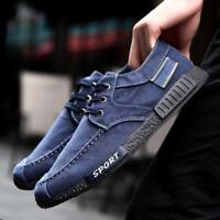 Men's Black Retro Casual Denim Canvas Shoes Outdoor Loafers Breathable Sneakers