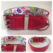 X-Large Pink Leather Dog Collar with Fluro Fun Peace & Love Inner Lining