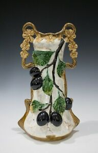 Josef Strnact Art Nouveau Majolica Vase #4418 with Plums