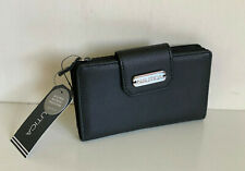 NEW! NAUTICA CLOSE REACH TAB INDEXER BLACK PEBBLE LEATHER WALLET W/ RFID $35