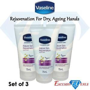 3 x Vaseline Mature Skin Rejuvenation 75ml Hand Cream Non-Greasy