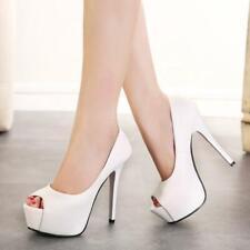 Women's Peep Toe Platform Pumps Stiletto High Heels Sandals Waterproof Shoes