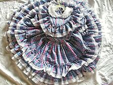 Vintage Girls Golden Age Dress 8 Blue Pink  Plaid Ruffle Frilly Bow Circle Skirt