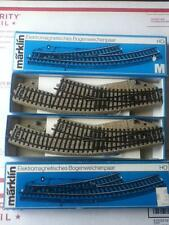 """Lot A38D- Marklin HO (2)Pairs Electr.Curve Turnouts Switches""""M""""Tracks 5140 -NCOB"""