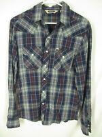 Salt Valley Western Mens Blue Plaid Long Sleeve Cotton Snap Shirt S