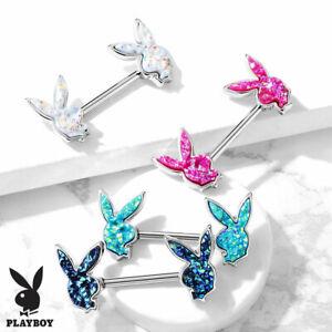 PAIR Druzy Stone Playboy Bunny Nipple Rings Shield 316L Surgical Steel Barbells