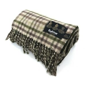 Barbour Scarf Mens Brown Checked Wool Rectangle Tassels Winter Wear 431496