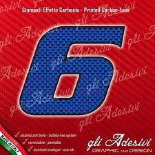 Adesivo Stickers NUMERO 6 moto auto cross gara Carbon Effect Blu 15 cm